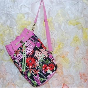 Lilly Pulitzer canvas drawstring bucket bag / tote